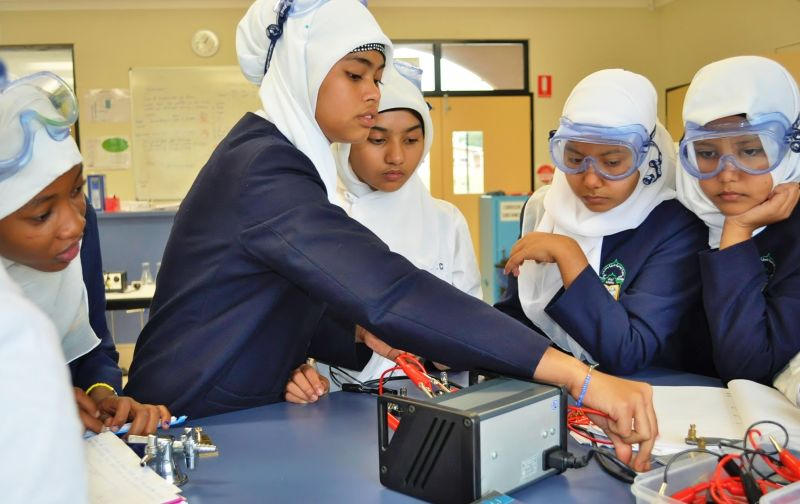 AIIC Female Students in Science Lab