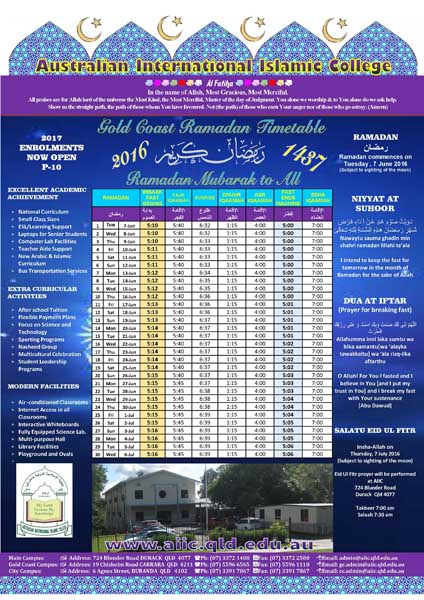 Gold Coast Ramadan Timetable